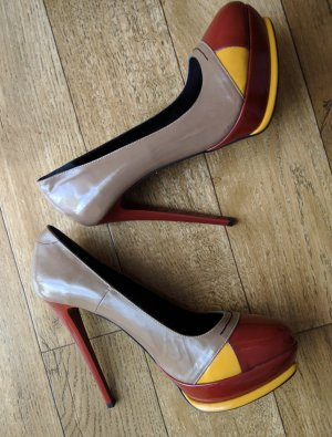 Luxus Leder Pumps High Heels Stiletto * Neu