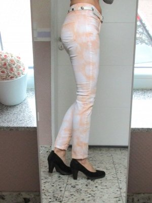 Luxus Marken Cambio Jeans Hose Röhre Parla Uncle cut Größe 38 M Orange Weiß