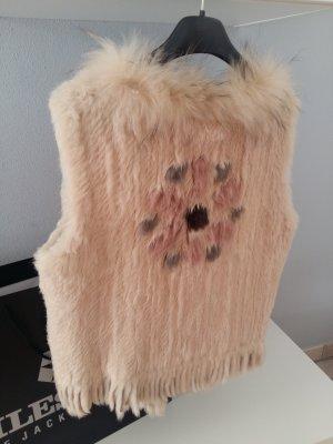 Milestone Smanicato di pelliccia bianco sporco Pelliccia