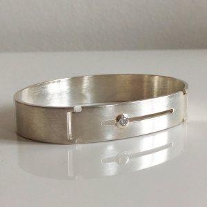Luxus Modern Art Modernist Vintage Sterling 925er Brillant Schliff Kristall Silber Armband Armreif