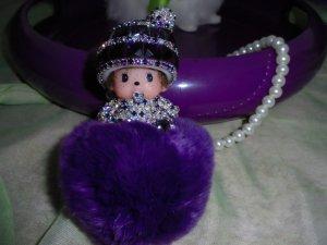 Luxus Monchhichi mit Strass und Perlen  Kette,Tasche ,Schlüssel Anhänger13x7cm