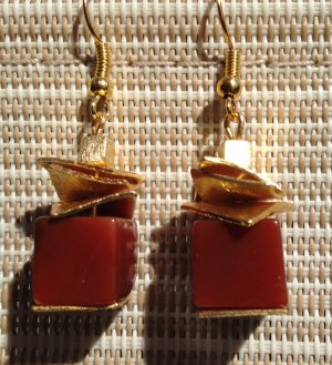 Luxus Ohrringe aus Karneol und Kupfer echt vergoldet
