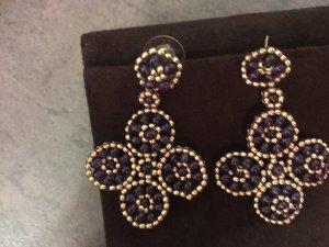 Luxus Ohrringe chandaliers wie miguel ases Bordeaux Gold wie neu Swarovski Sternchen