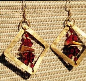 Luxus Ohrringe in Rot und Gold Swarovski Siam vergoldet