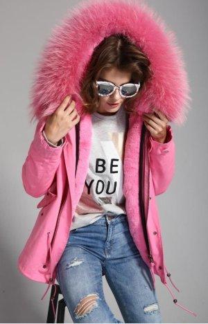 LUXUS Parka Jacke Blogger XXL Kapuze Pelz Pink Mantel Waschbär Army