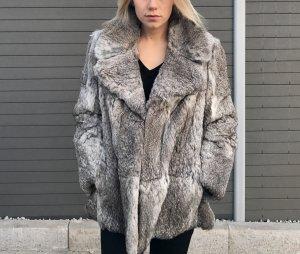 Luxus Pelzmantel Grau Echtpelz