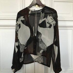 Luxus Print Motiv Bluse Dolce Gabbana, Chiffon Seide 38 40 transparent hauchzart