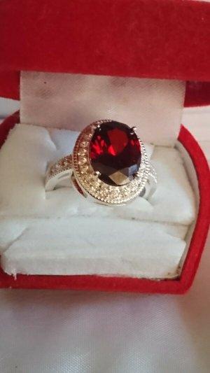Zilveren ring rood-zilver