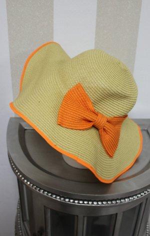 LUXUS SCHNÄPPCHEN !Hut mit eleganter orangener Schleife