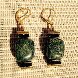 Luxus smaragdfarbenen Ohrhänger mit echtem Verdit Edelstein & Swarovski Kristal