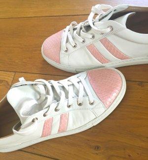Bally Basket à lacet blanc-rose clair cuir