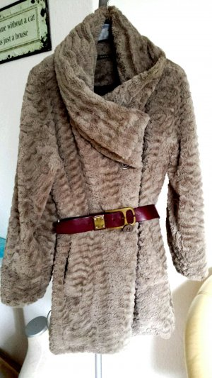 Luxus Sonja Marohn Mantel Pelzmantel Fake Fur wie Nerz Nude leicht