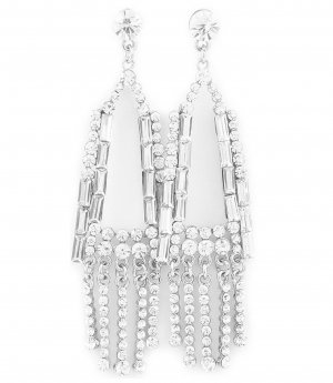 Statement Earrings white-silver-colored glas
