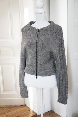 Luxus Strickjacke Designer grau Cardigan Wolle warm dick kuschelig Winter 34 XS