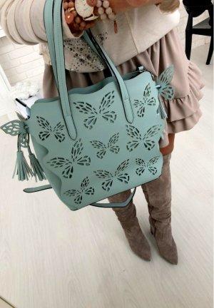 Luxus Tasche Blogger Handtasche Umhängetasche Henkeltasche Shopper in Türkis