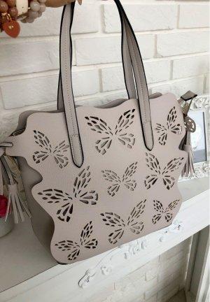 Luxus Tasche Handtasche Gold Detail Umhängetasche Schultertasche Henkeltasche Shopper in Taupe
