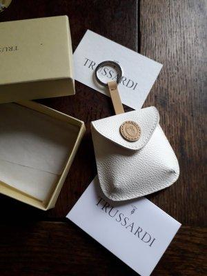 Trussardi Key Chain cream-beige leather