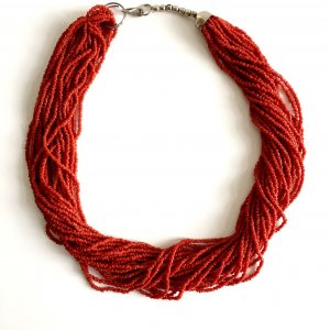 Luxus Vintage 25 reihige Koralle kette collier 70s 70er Jahre Boho Hippie