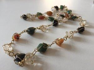 Luxus Vintage endlos gold Edelsteinkette Jade Rosenquarz Bergkristall Karneol 60er 70er Silberdraht