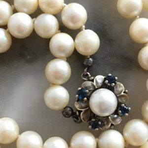 Luxus Vintage Perlen Halskette Perlenkette Saphire weissgold 333 Perlencollier Saphir Collier Kette
