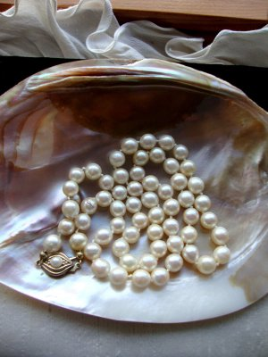 Vintage Pearl Necklace multicolored real silver
