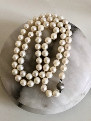 Luxus Vintage Perlenkette Echtsilber 835 Silber Echtperlen echt Perlen Kette Collier antik Perlencollier Kugel Design Verschluss