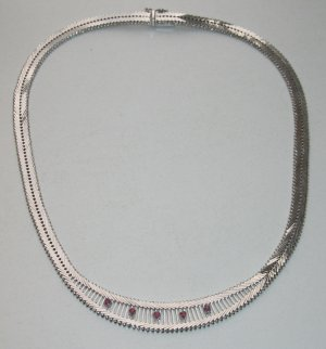 Vintage Collier Necklace silver-colored-red real silver