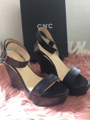 Costume National Wedge Pumps dark blue leather
