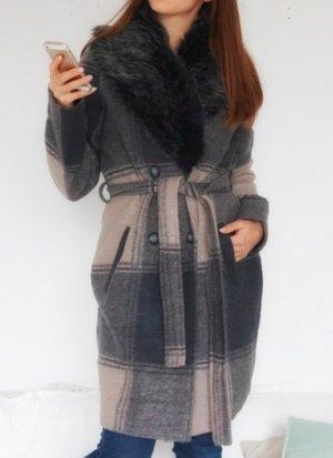 Luxus Wollmantel Mantel Jacke 100% Wolle beige grau Fell Fellimitat Kragen 38 M NEU