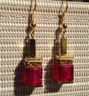 Luxus Würfel Ohrringe Ohrhänger mit Crackle Crash & Hämatit In Pink & Gold