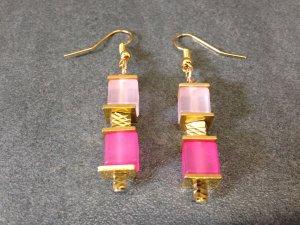 Luxus Würfel Ohrringe pink/rosaafarbenen Polar Würfeln