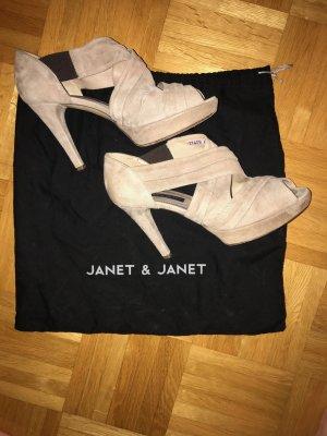 Luxusschuhe zum Traumpreis! Janet & Janet Leder Plateau Peeptoe High Heels Gr. 40