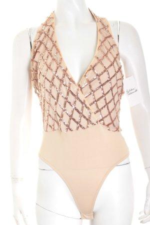 Luxxel Blusen-Body nude-roségoldfarben Glitzer-Optik