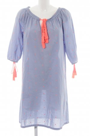 lykkelig Robe tunique bleu azur-orange fluo motif de tache style décontracté