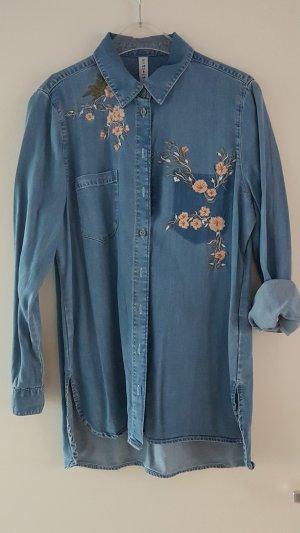 Lyocell Jeans Bluse mit Blumen Stickerei Gr. UK 12