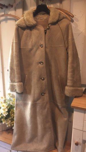 M 38 40 LAMMFELL Mantel Kapuze Leder Pelz Jacke MEYER-SCHUCHARDT beige braun