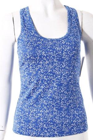 m.c.y Tanktop weiß-stahlblau florales Muster Casual-Look