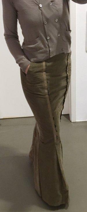 Le Jean De Marithé + Francois Girbaud High Waist Skirt ocher-olive green cotton