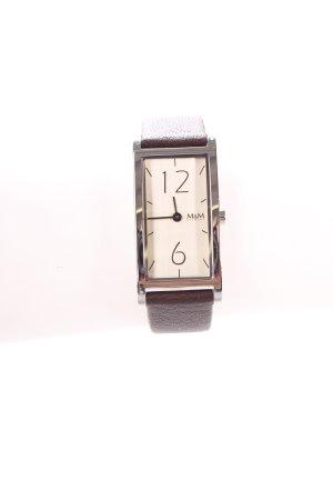 M&M Uhr mit Lederarmband dunkelbraun klassischer Stil