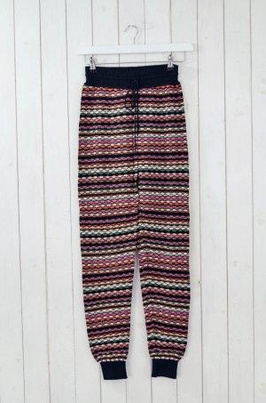 M MISSONI Damen Wollhose Wolle Viskose Baumwolle Bunt Schwarz Gestrickt Gr.32