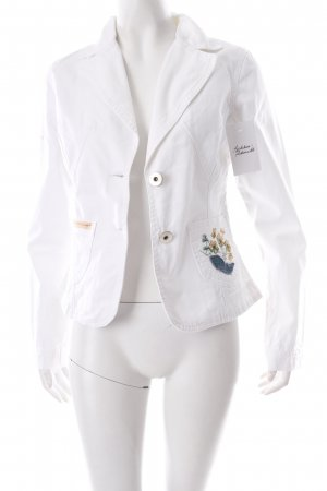 M.Square Denim Blazer white floral pattern Logo application