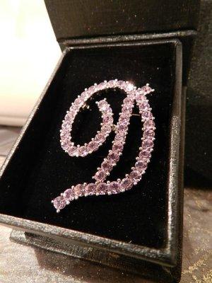 """M2 Buchstaben Brosche Buchstabe """"D"""" Violett/Pink mit Swarovski-Kristallen in OVP"""