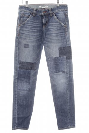 Mac Boyfriendjeans dunkelblau Used-Optik