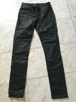 MAC Jeans dunkelgrün Lederoptik, gewachst skinny highwaist