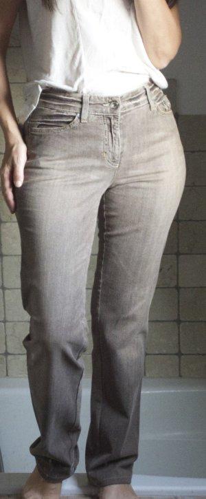 MAC Jeans mit hohem Bund, high waiste, braun, meliert, leichte Waschung, Baumwolle Elasthane, bequem, gerades Bein, bester Zustand, Gr. 36