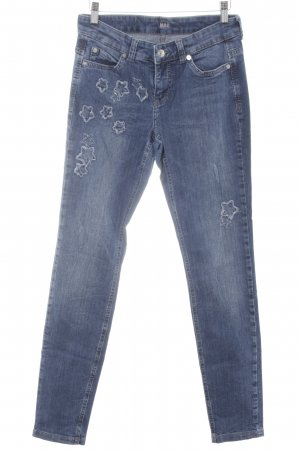 MAC Jeans Röhrenjeans stahlblau Sternenmuster Washed-Optik