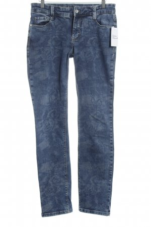 MAC Jeans Straight-Leg Jeans blau Allover-Druck Casual-Look