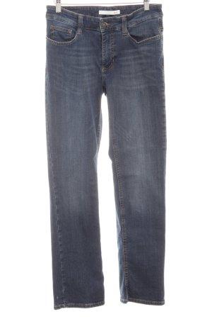 MAC Jeans Straight-Leg Jeans dunkelblau Used-Optik