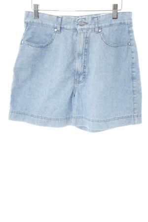 Mac Pantalón corto de tela vaquera azul celeste moteado estilo sencillo
