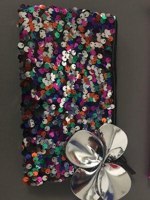 Mac Kosmetiktasche Tasche Pailletten Bunt mit Silber Blume Neu